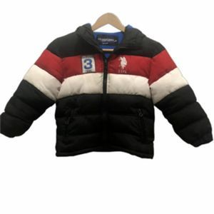 U.S. Polo Assn. 5/6 red white blue hooded puffer